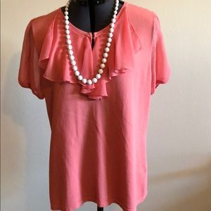 Cable & Gauge Peach Ruffle Top